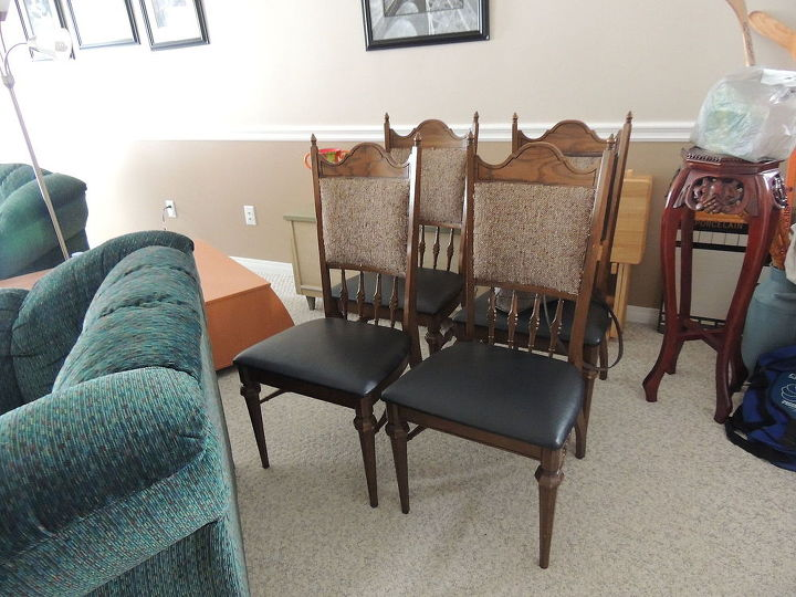 1950 s dining set makeover, chalk paint, dining room ideas, painted furniture, reupholster