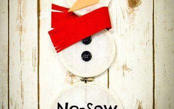 No Sew Snowman Hoop Art