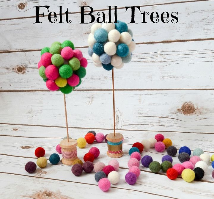felt ball trees, crafts, how to, repurposing upcycling