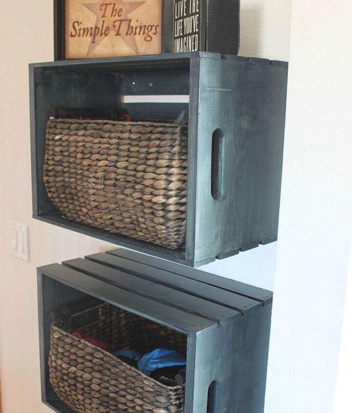 diy mudroom storage crates, foyer, organizing, repurposing upcycling, shelving ideas, storage ideas