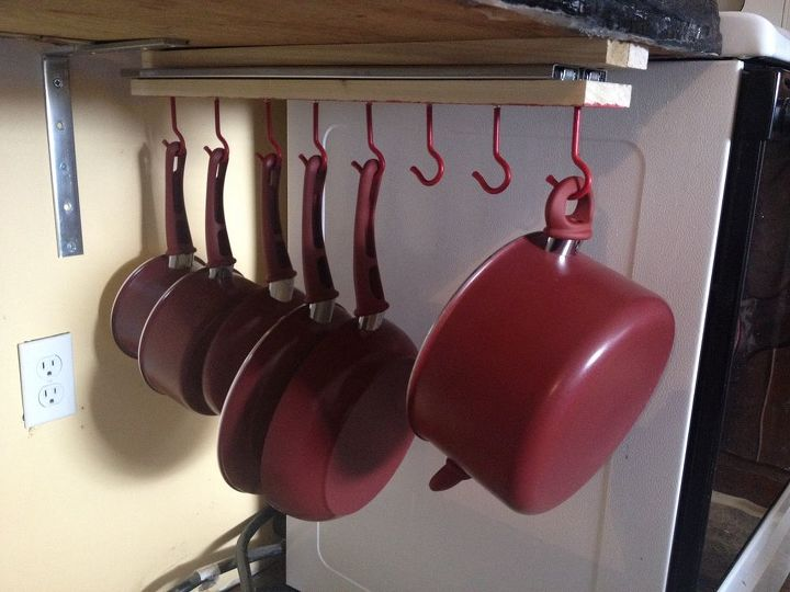 Under the counter pull out pots and pans rack hometalk Diy under counter storage