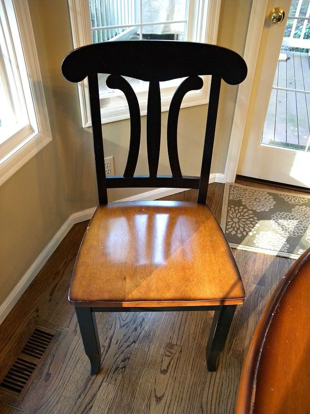 kitchen table and chair makeover with stain and paint, dining room ideas, kitchen design, painted furniture