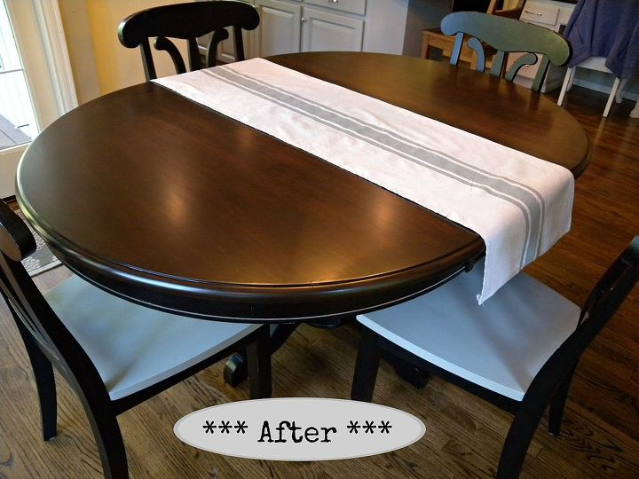 Kitchen table and chair makeover with stain and paint hometalk kitchen table and chair makeover with stain and paint dining room ideas kitchen design workwithnaturefo