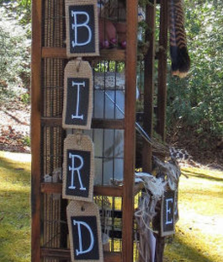 for the birds turn a cd stand into a bird themed curiosity cabinet, painted furniture, repurposing upcycling, rustic furniture