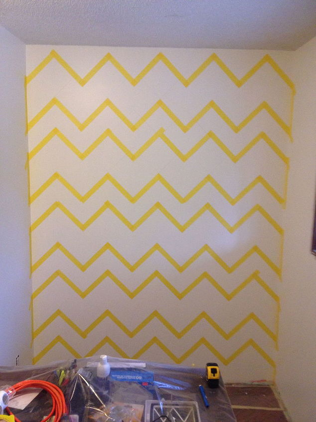 Diy Chevron Wall And Custom Shelves For Home Office Hometalk