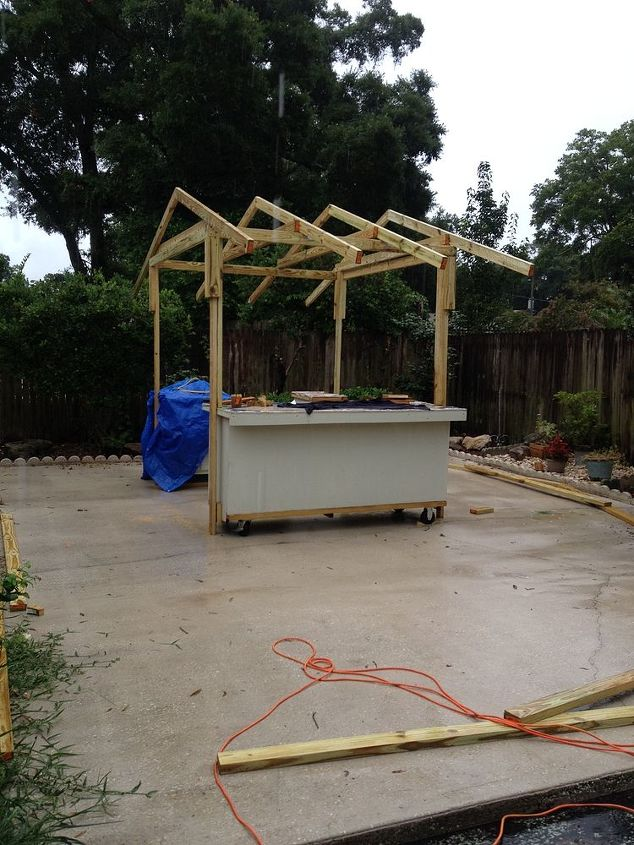 outdoor grill and bar hut, diy, how to, outdoor furniture, outdoor living, tiling, woodworking projects