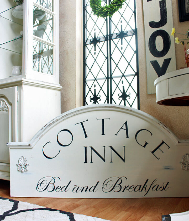 headboard turned bed and breakfast sign, crafts, how to, repurposing upcycling