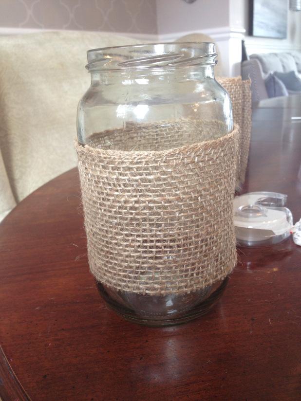 burlap lace luminaries, crafts, mason jars, repurposing upcycling
