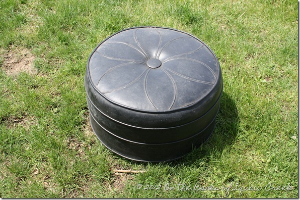 knock off pouf, painted furniture