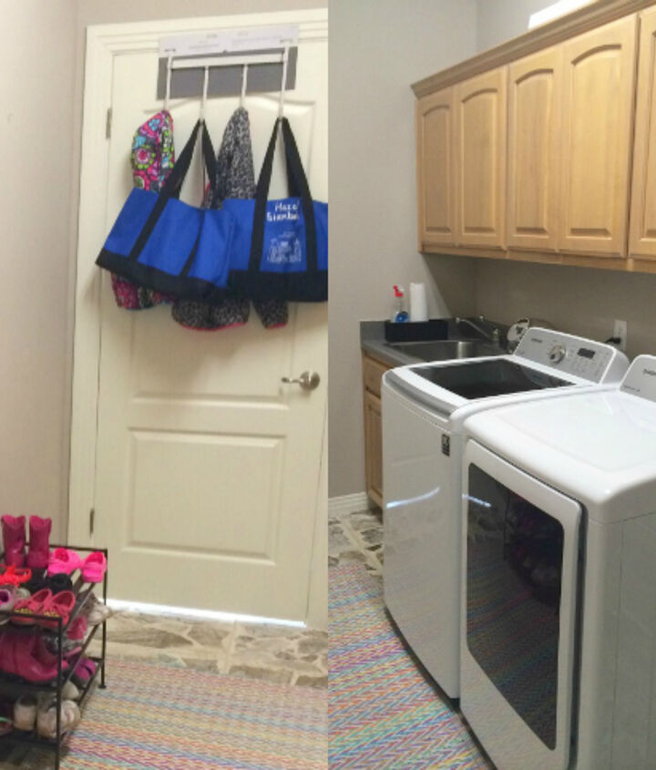 colorful laundry mud room makeover, foyer, laundry rooms, organizing