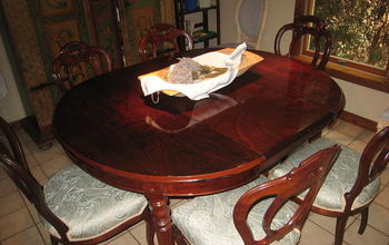free antique dining table and chairs get renewed, painted furniture, reupholster