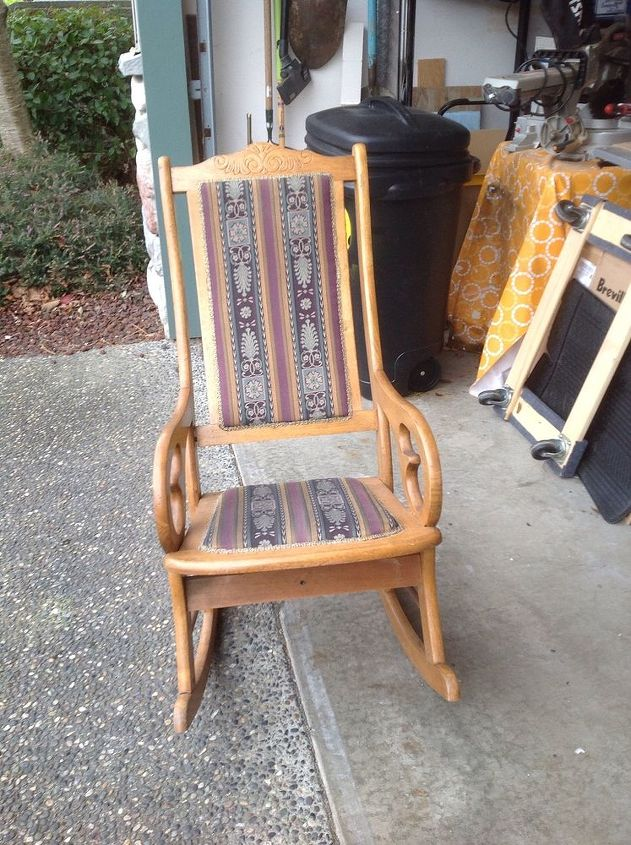 antique rocking chair update, painted furniture, repurposing upcycling,  reupholster, The before - Antique Rocking Chair Update Hometalk