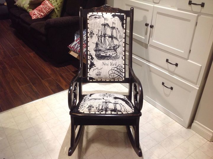 antique rocking chair update, painted furniture, repurposing upcycling,  reupholster, After - Antique Rocking Chair Update Hometalk
