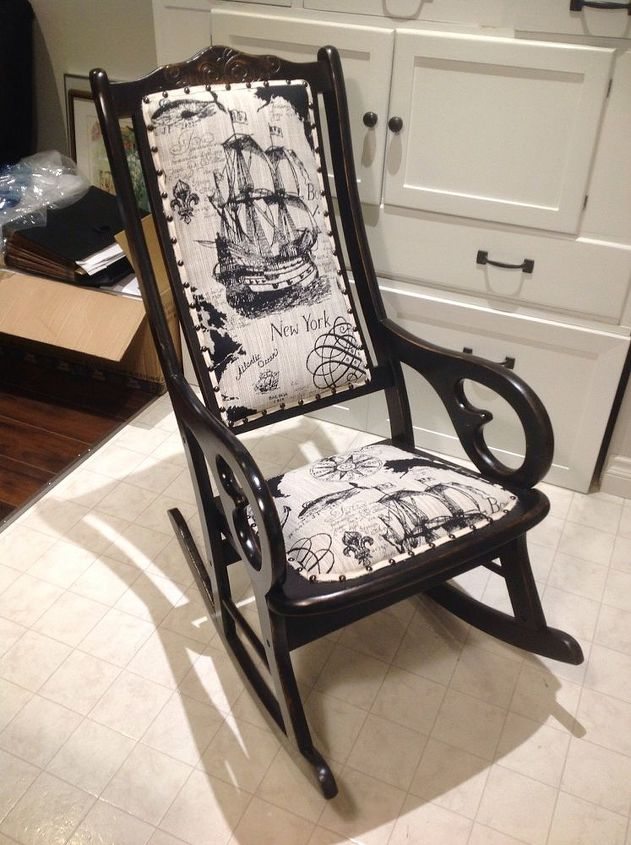 antique rocking chair update, painted furniture, repurposing upcycling,  reupholster - Antique Rocking Chair Update Hometalk