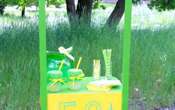 repurposed nightstand into lemonade stand, outdoor living, painted furniture, repurposing upcycling