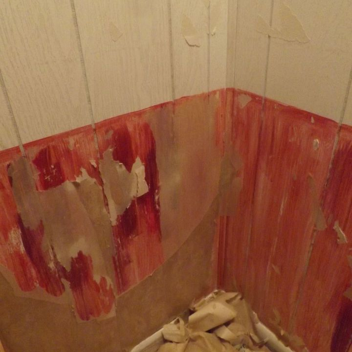 an easy way for wallpaper removal new shower walls, bathroom ideas, home improvement, repurposing upcycling, wall decor