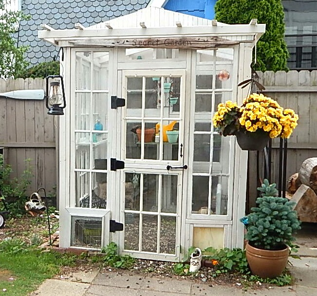 greenhouse made from vintage windows, gardening, repurposing upcycling, windows, woodworking projects