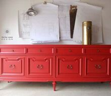 a red buffet, painted furniture
