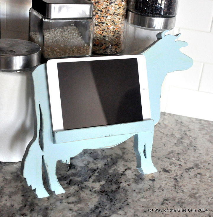 cow kitchen tablet stand, crafts, how to, kitchen design, woodworking projects