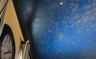 diy faux midnight painted ceiling, painting, wall decor