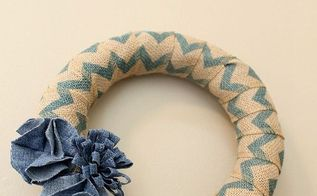 quick wreath with denim flowers, crafts, how to, repurposing upcycling, wreaths