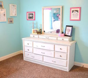 Hot Pink And Turquoise Girls Bedroom Makeover, Bedroom Ideas, White Dresser  With Turquoise Walls