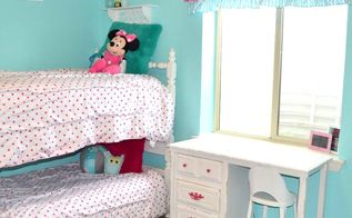 hot pink and turquoise girls bedroom makeover, bedroom ideas, White Bunkbeds with Desk and pink handles