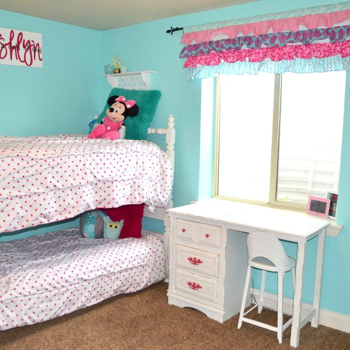 Hot Pink And Turquoise S Bedroom Makeover Ideas White Bunkbeds With Desk