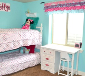 Hot Pink And Turquoise Girls Bedroom Makeover, Bedroom Ideas, White  Bunkbeds With Desk And