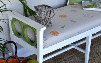 Coastal Stenciled Upholstered Bench