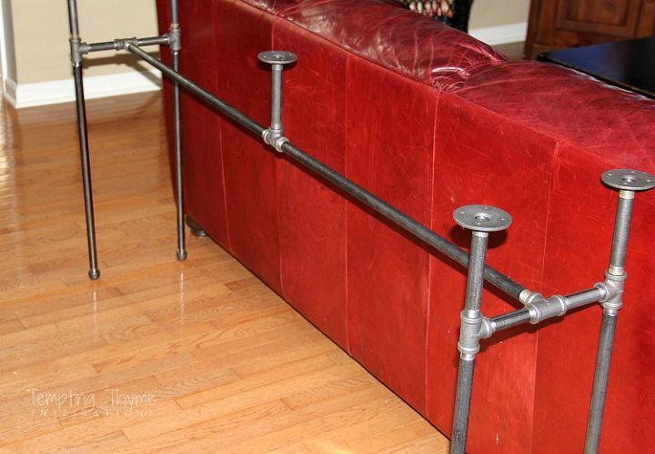 diy industrial pipe sofa table, diy, how to, painted furniture, repurposing upcycling, rustic furniture