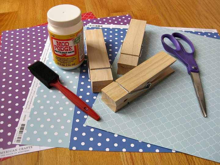 giant clothespin decorated, crafts, decoupage, how to