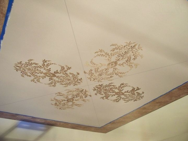 creative a massively beautiful ceiling with paint and stencils, living room ideas, painting, wall decor