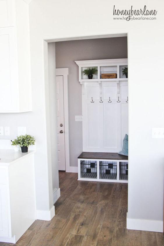 diy mudroom bench, foyer, organizing, storage ideas, wall decor, woodworking projects