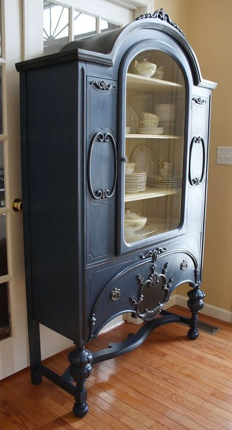 painted vintage china cabinet, chalk paint, painted furniture