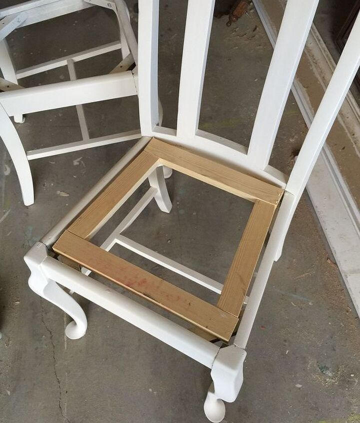 turn upholstered dining chair seats into wood, painted furniture, repurposing upcycling, woodworking projects