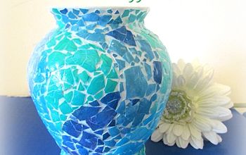 creating a mosaic vase with eggshells, crafts, decoupage, how to, repurposing upcycling