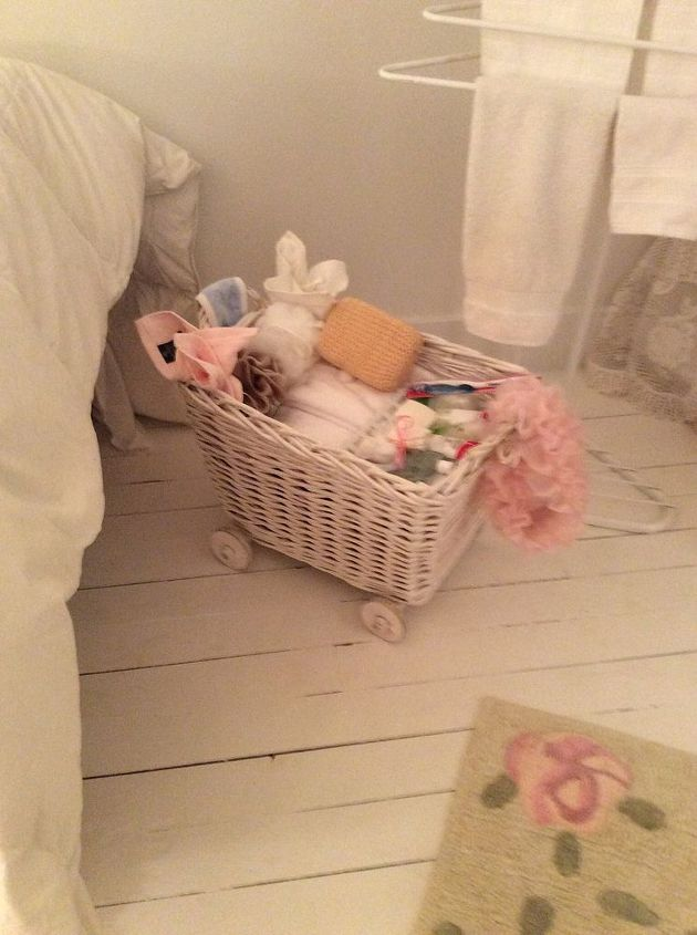 q one dead spot in attic filled with a pram but not what i want, bedroom ideas, shabby chic, Wicker basket for toiletries just added wheels