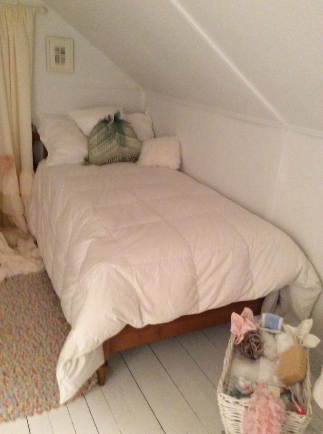 q one dead spot in attic filled with a pram but not what i want, bedroom ideas, shabby chic, Twin bed