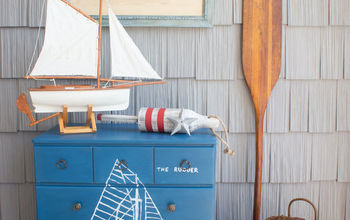 handpainted maritime blueprint dresser, how to, painted furniture