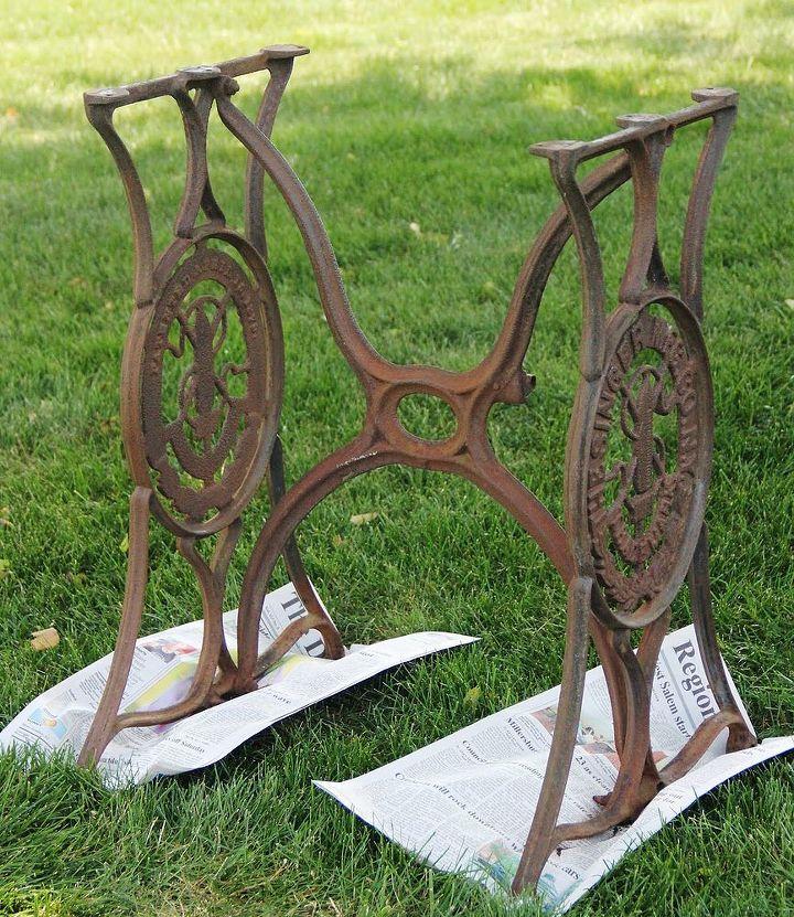 Rusty & dusty sewing machine base.