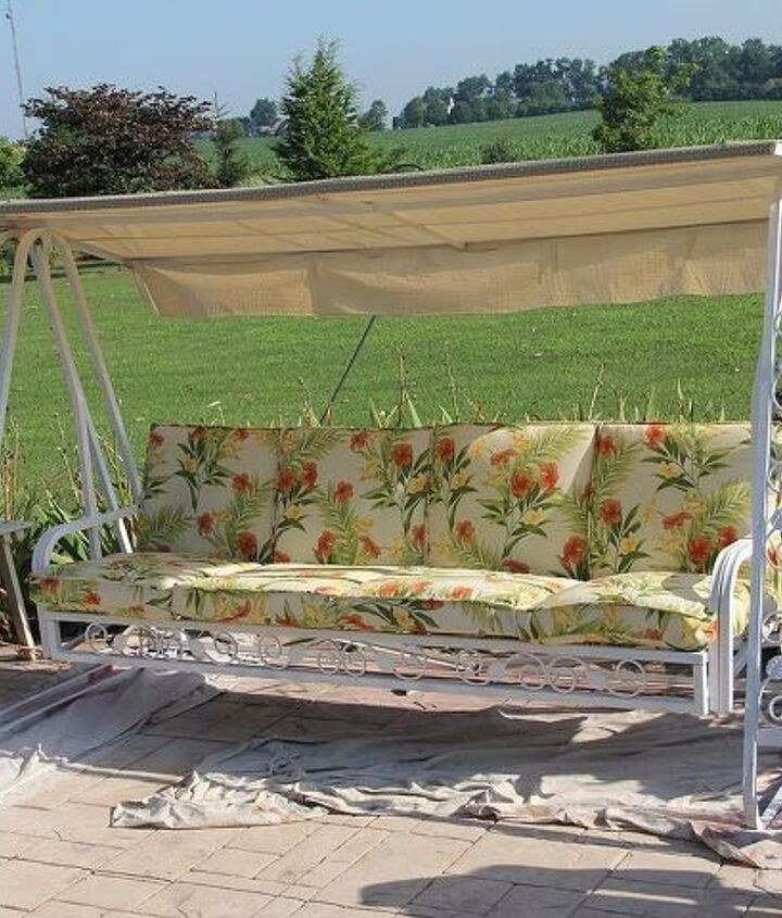 beautiful big old swing aka saving an old friend s life, outdoor furniture, outdoor living, painted furniture