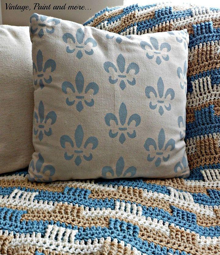 Crochet Basket Weave Afghan And Stenciled Pillow Hometalk