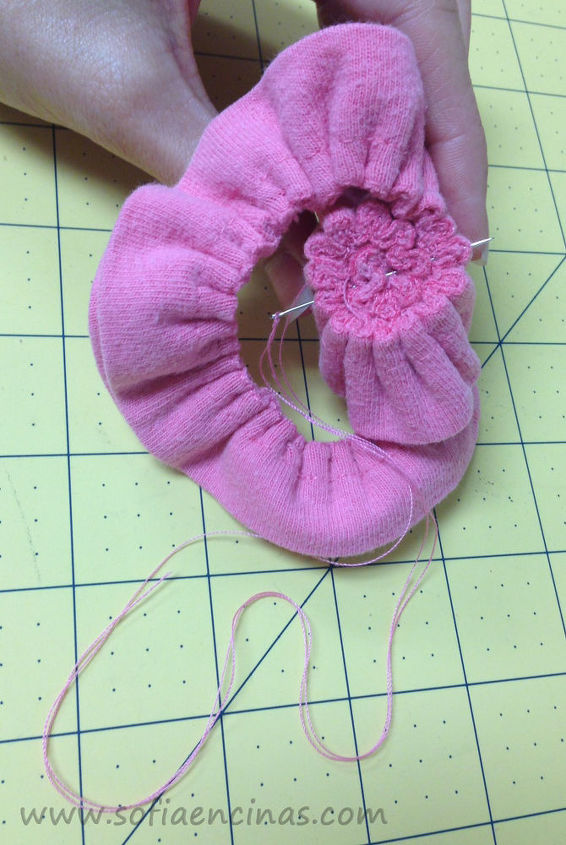 how to make a flower out of t shirt seams, crafts, how to, repurposing upcycling