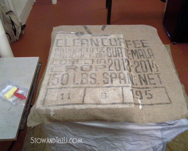 coffee sack covered cabinet, chalk paint, decoupage, painted furniture, repurposing upcycling