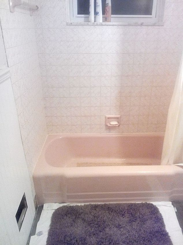 Pink tub and white with pink tile!