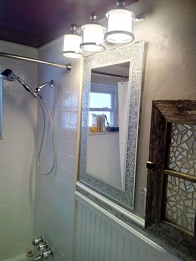 New mirror and light fixture.
