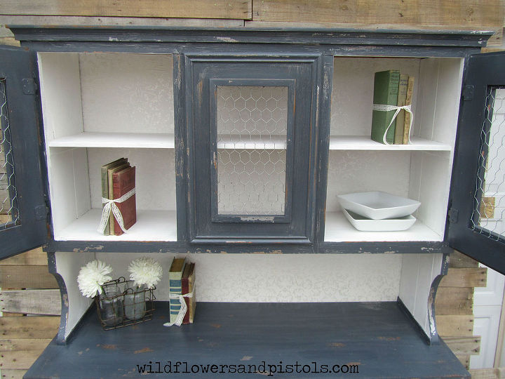rustic glam hutch, painted furniture, repurposing upcycling
