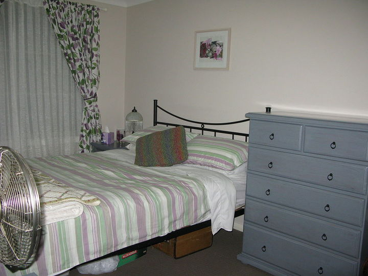 guest bedroom furniture makeover from orange pine to soft grey, bedroom ideas, painted furniture