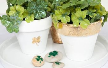 how to gold leaf flower pots for stpatricksday, container gardening, crafts, gardening, how to, seasonal holiday decor
